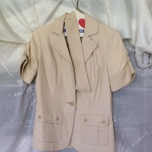 Beige linen blend short sleeves jacket XS